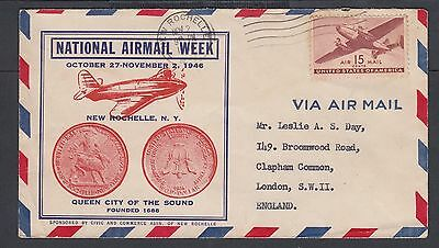 Usa 1946 National Airmail Week Cover New Rochelle New York To London England