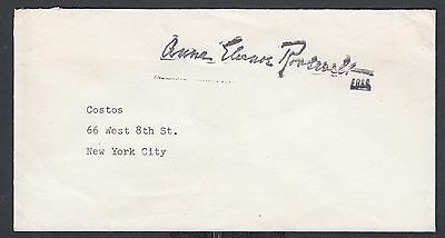 USA 1940s ANNE ELEANOR ROOSEVELT FREE FRANK COVER TO NEW YORK CITY