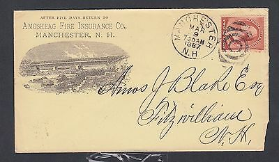 Usa 1887 Amoskeag Fire Insurance Advertising Cover Manchester New Hampshire