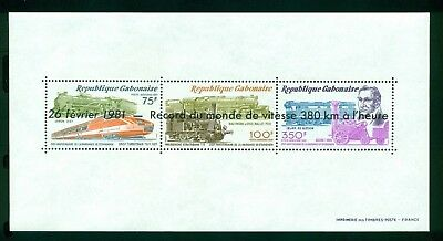 Gabon Scott #C252 MNH Steam Locomotive Trains OVPT Speed Record CV$7+