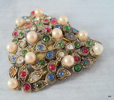 Vintage Jeweled Dress Scarf Clip Sparkly Rhinestones & Faux Pearls - Estate Find