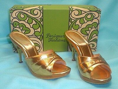 VINTAGE 1960's 70's DEBONAIRE GOLD LADIES HIGH HEEL SHOES SIZE 7M MADE IN ITALY