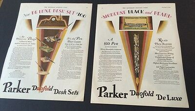 Art Deco Incredible Ad For Parker Duofold Pen FOUNTAIN Pen Set RARE 2 Page 1928