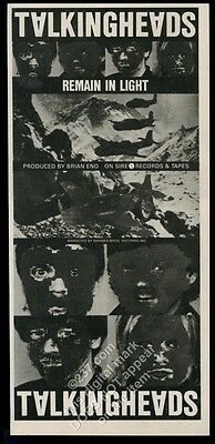 1980 Talking Heads photo Remain in Light album release vintage print ad
