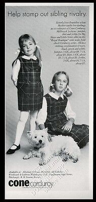 1964 Westie and 2 girl photo Cone Corduroy dress fashion vintage print ad