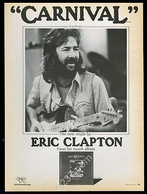 1977 Eric Clapton photo Carnival song release music trade ad