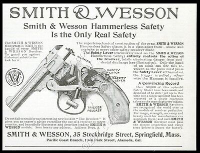 1907 Smith & Wesson revolver gun photo vintage print ad