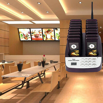 Restaurant Wireless Waiter Paging Queuing Button System w/ 16 Call Coaster Pager