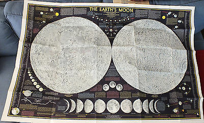 "Vintage 1969 THE EARTH'S MOON National Geographic 28"" x 42"" NICE SEE"