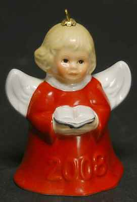 Goebel ANGEL BELL ORNAMENT Red Angel w/ Song Book 2008