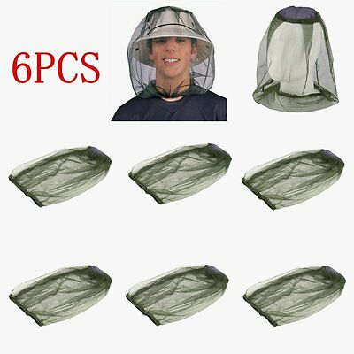 6PCS Face Mesh Bug Travel Camping Head Protector Insect Net Hat Midge Mosquito F