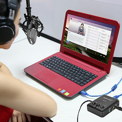 Neewer External USB Sound Card with Free Drive Design for Recording- Black