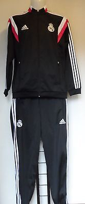 Real Madrid Black Presentation Suit By Adidas Adults Size Large Brand New