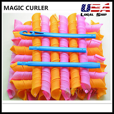 Magic Hair Curlers Curl Spiral Ringlet Leverag Styling Rollers 30/55/65/75CM Wan