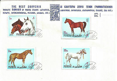 FUJEIRA SET OF 4 STAMPS - HORSES - 1972. In Protective Cover. CHARITY SALE