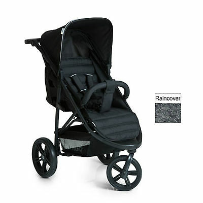 New Hauck Caviar / Black Rapid 3 Pushchair Stroller Baby Buggy With Raincover