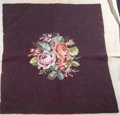 Vintage Finished Needlepoint Pillow Top Chair Seat Covergorgeous Roses On Brown,
