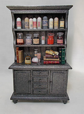 Dollhouse Miniature Poison / Chemist / Apothecary filled Cabinet (blk/gld)