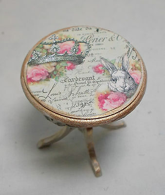 Dolls house miniature Shabby-Chic French Round table