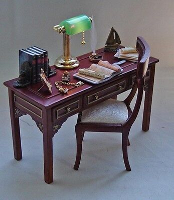 Dolls house miniature Filled Jiayi Table and matching Chair