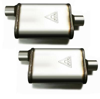 """Pair of two 2 1/2 High Flow Dual Chamber Performace Mufflers 2.5"""" Offset/Center"""