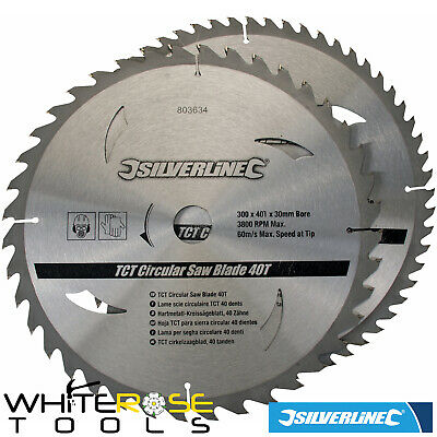 Silverline Circular Saw Blades TCT 300 x 30mm Bore Rings Wood Timber