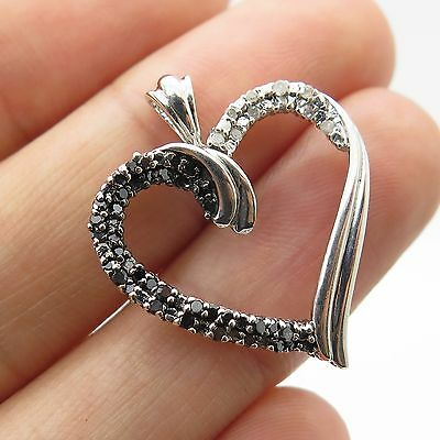 925 Sterling Silver Real Black and White Diamond Large Heart Pendant 0.20CT