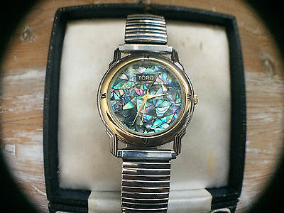 RARE Vintage TORQ Mens Wrist Watch Unusual Mother Of Pearl Face 18K Gold Plated