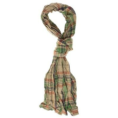 New Mens Timberland Green Chequered Cotton Scarf Scarves