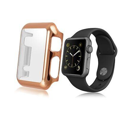 Rose Gold Clear Apple Watch 42mm Hard & Slim Protective Case with Screen Protect