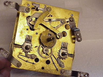 Vintage German Style 8 Day 5 Hammer Front Mount Clock Movement parts repair G