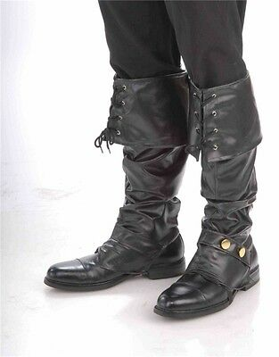 Adult Black Deluxe Simulated Leather Pirate Costume Boot Tops