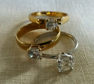 Vintage lot of 3 solitaire rings faux diamond large size and 2 marked GF