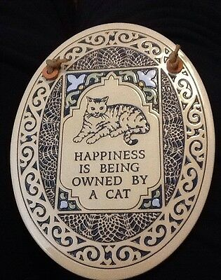 Trinity Pottery Spooner WI Wall Hanging tile Happiness is being owned by a Cat