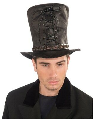 Deluxe Mens Womens Steampunk Black Costume Tie-Up Cloth Faux Leather Top Hat