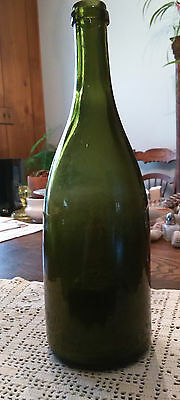 Antique Dark Olive Green Glass Bottle Wine Bitters Whiskey Water