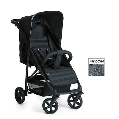 New Hauck Caviar / Black Rapid 4 Pushchair Stroller Baby Buggy With Raincover