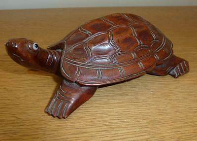 Vintage Exceptional Wooden Treen Hand Carved Turtle