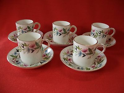 5 X  Vintage Foley Bone China  E Brain ~~  Gaiety  ~~ Coffee Cup / Can & Saucer