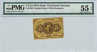 Fr. 1230 Five Cent 5c Fractional First Issue AU55 EPQ PMG