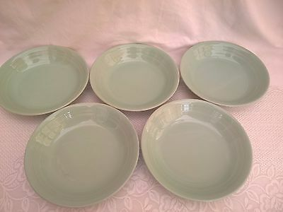 """WOODS WARE - BERYL - 5x Cereal 7.5""""  Dishes / Bowls - Vintage Green Utility"""