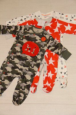 BNWT NEXT 3xbaby boys 'camouflage/hi ' sleepsuits/bodysuits, 0-3 months