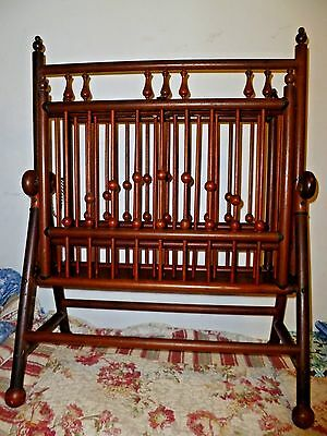 Lg Victorian Stick & Ball  Mahogany magazine RACK folding double sided antique