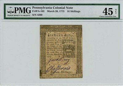 Fr. PA-162 16 Shillings Pennsylvania Colonial Note March 20, 1773 ChXF45 Net PMG