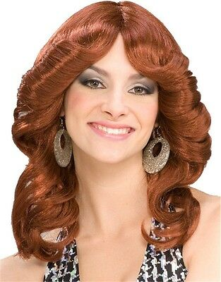 70s Costume Brown Funky Disco Doll Angle Long Curly Wig