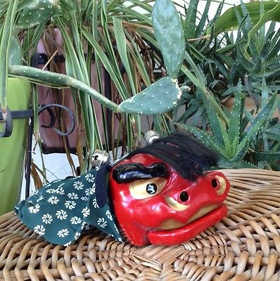 Vintage Japanese Dragon Puppet Lacquer Silk Real Hair Asian