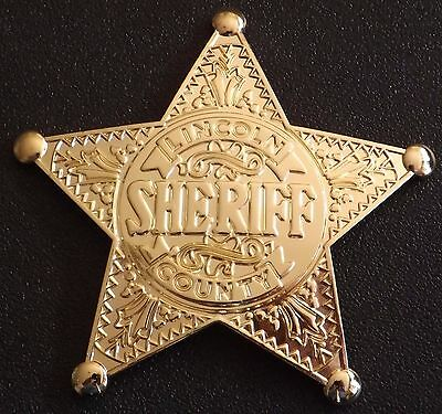 Old West Lincoln County New Mexico Replica Sheriff Badge Gold Color  Made USA