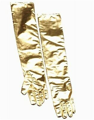 Women's Gold Lame Liquid Metal Elbow Length Glamour Gloves