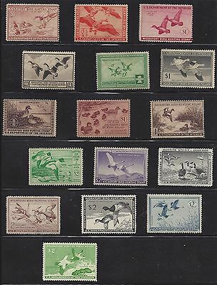 Collection of 16 Federal Duck Stamps, Mint, Hinged. Catalog Value: $1,570
