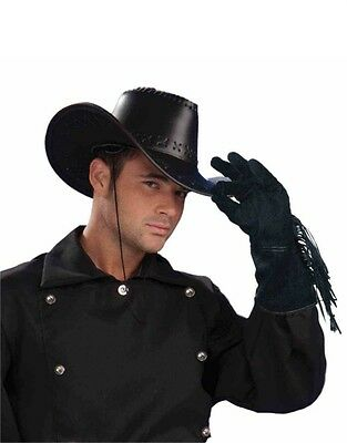 Adults Black Cowboy Steampunk Biker Costume Faux Leather Fringed Gloves